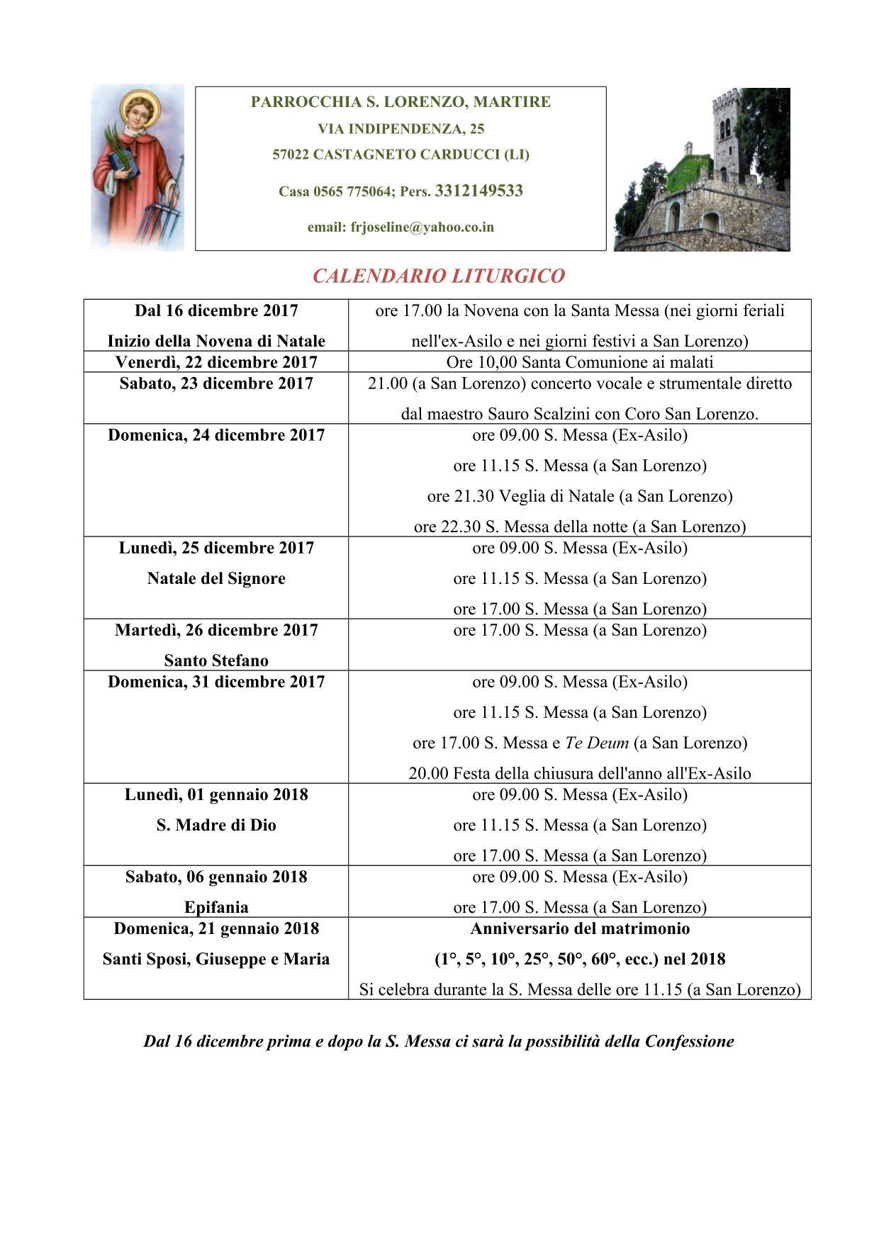 CALENDARIO LITURGICO dic2017-gen2018 San Lorenzo