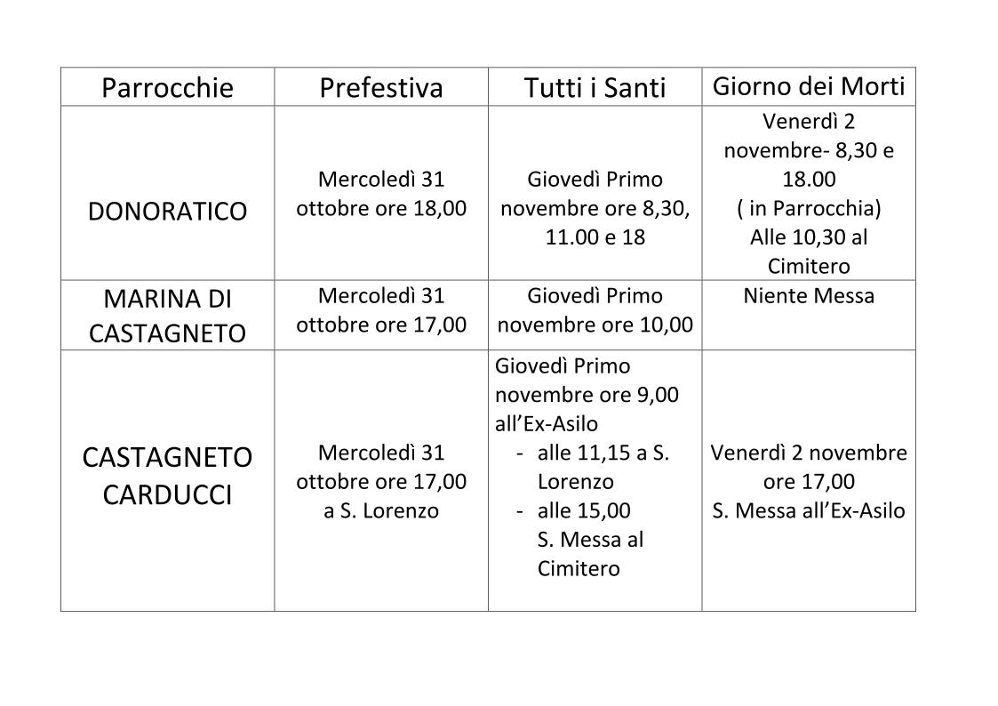 Orari Tre Parrocchie Santi&Defunti 2018