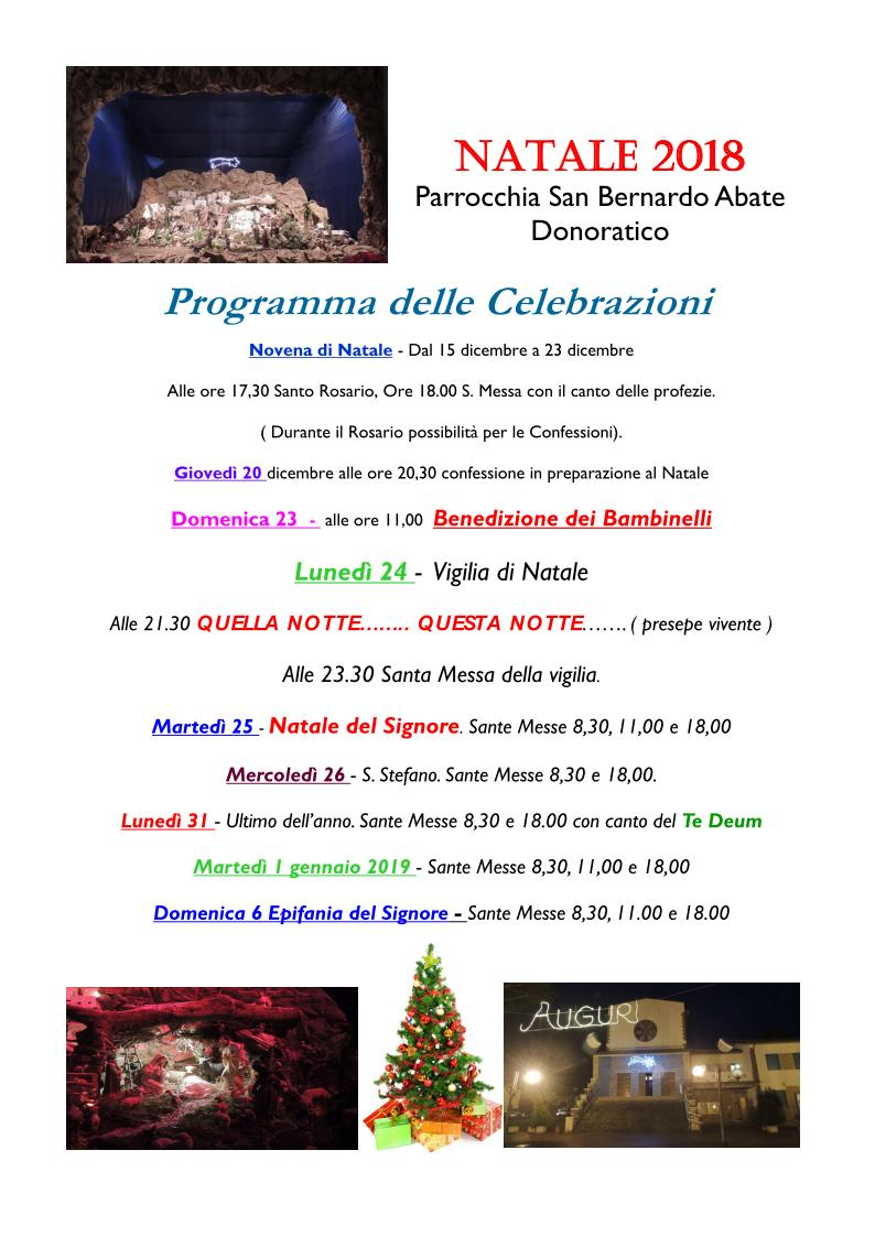 Natale 2018 orari Donoratico