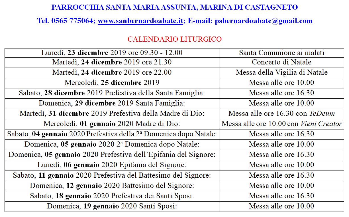 Marina   Calendario Liturgico Natale 2019 e mese di gennaio