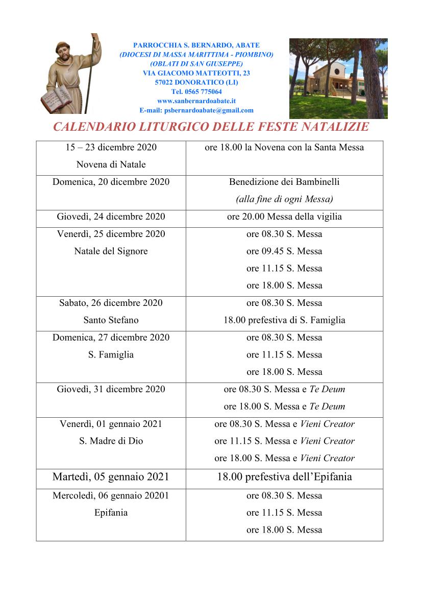 Calendario Liturgico delle Feste Natalizie 2020 a Donoratico